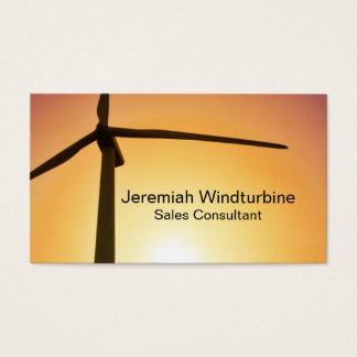 Wind turbine silhouette on orange business card