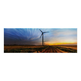 Wind Turbine Sunset Poster