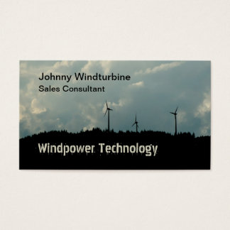 Wind turbines against a stormy sky business card