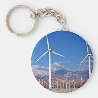 Wind turbines basic round button keychain