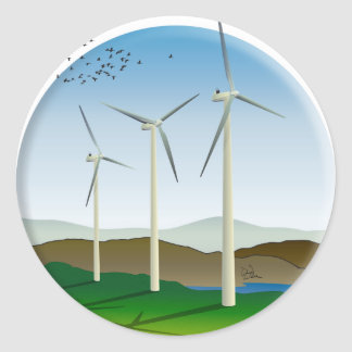 Wind Turbines Classic Round Sticker