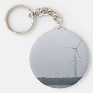 Wind turbines generate power basic round button keychain