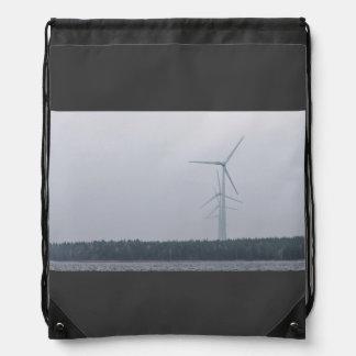 Wind turbines generate power drawstring backpack