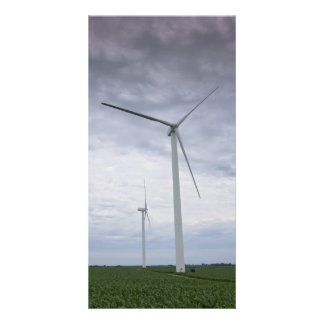Wind Turbines in Cornfield Card