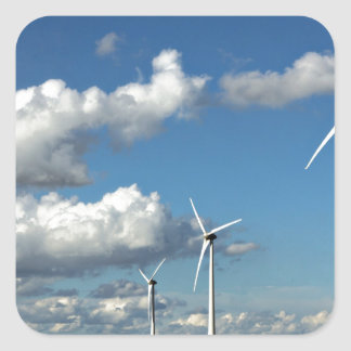 Wind turbines on the roadside square sticker
