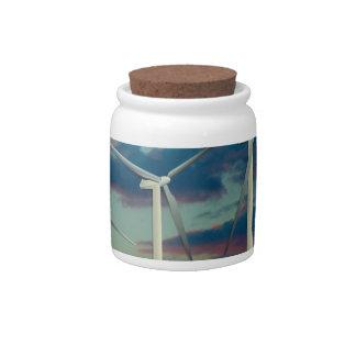Wind Turbines Painted Sky Candy Jars