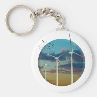 Wind Turbines Painted Sky Keychain