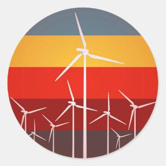 Wind Turbines Vintage Style Classic Round Sticker