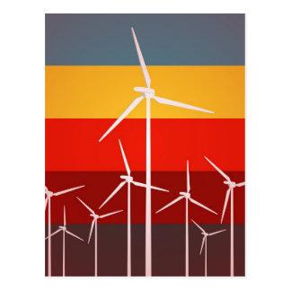 Wind Turbines Vintage Style Postcard