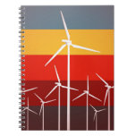 Wind Turbines Vintage Style Spiral Note Book