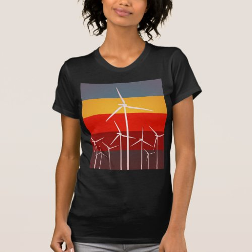 Wind Turbines Vintage Style T_Shirt
