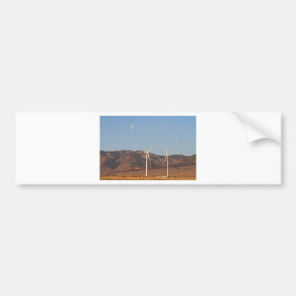 Wind Turbines with a Full Moon and Blue Skies Bumper Sticker