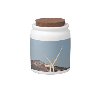 Wind Turbines with a Full Moon and Blue Skies Candy Jars