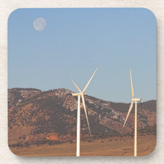 Wind Turbines with a Full Moon and Blue Skies Drink Coaster