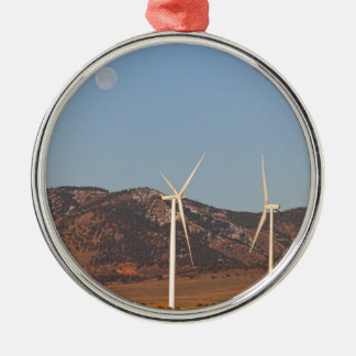 Wind Turbines with a Full Moon and Blue Skies Ornaments