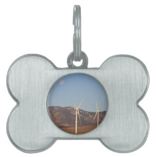 Wind Turbines with a Full Moon and Blue Skies Pet Tag