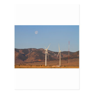 Wind Turbines with a Full Moon and Blue Skies Postcards