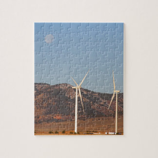 Wind Turbines with a Full Moon and Blue Skies Jigsaw Puzzles