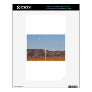 Wind Turbines with a Full Moon and Blue Skies Decals For The NOOK Color