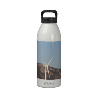 Wind Turbines with a Full Moon and Blue Skies Water Bottle