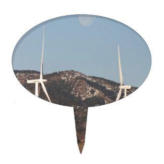 Wind Turbines With A Full Moon Portrait Cake Pick