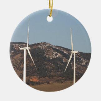 Wind Turbines With A Full Moon Portrait Ceramic Ornament