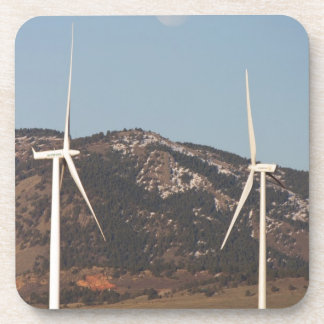 Wind Turbines With A Full Moon Portrait Coaster