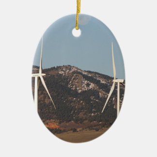 Wind Turbines With A Full Moon Portrait Christmas Ornaments