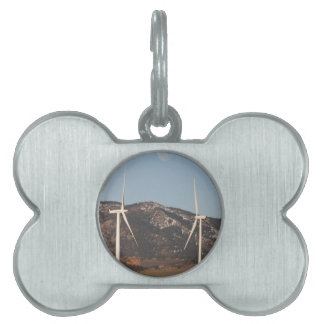 Wind Turbines With A Full Moon Portrait Pet Name Tags