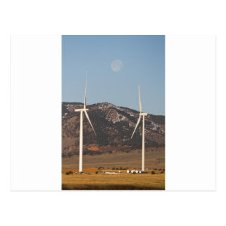 Wind Turbines With A Full Moon Portrait Postcard