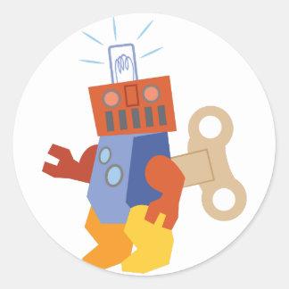 Wind Up Robot Classic Round Sticker