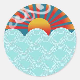Wind water stickers, award winner design classic round sticker