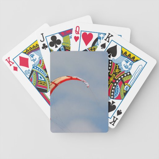Windboard red sail against blue sky bicycle playing cards