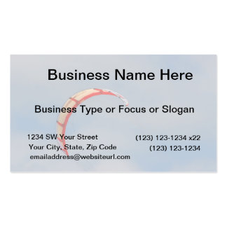 Windboard red sail against blue sky business card