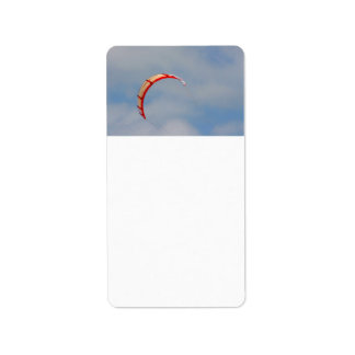 Windboard red sail against blue sky personalized address labels