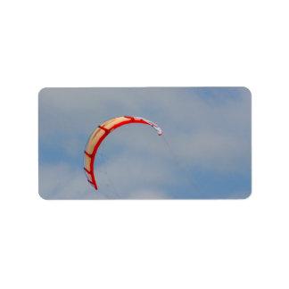 Windboard red sail against blue sky custom address label
