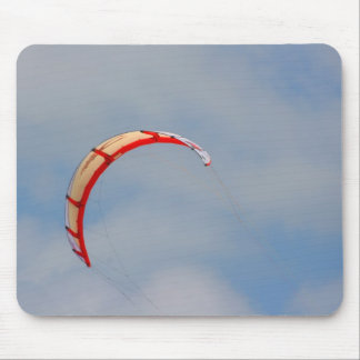 Windboard red sail against blue sky mousepad