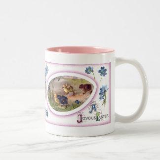 Windflowers and Chicks Vintage Easter Mugs