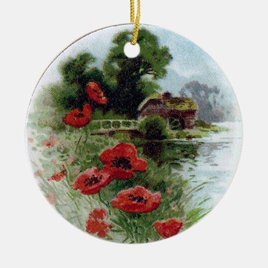 Windflowers and Vignette Vintage Birthday Ceramic Ornament