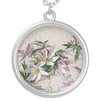 Windflowers and Vignette Vintage Birthday Personalized Necklace