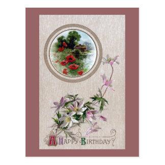 Windflowers and Vignette Vintage Birthday Postcard