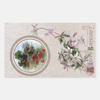 Windflowers and Vignette Vintage Birthday Rectangular Sticker
