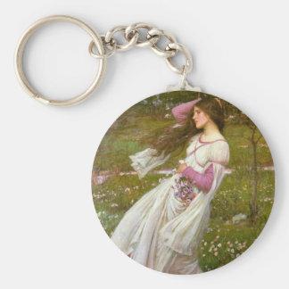 Windflowers Basic Round Button Keychain