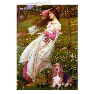 Windflowers - Basset Hound #1 Greeting Card