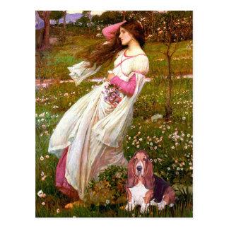 Windflowers - Basset Hound #1 Postcard