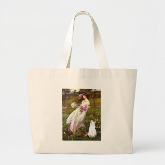 Windflowers - White cat Large Tote Bag