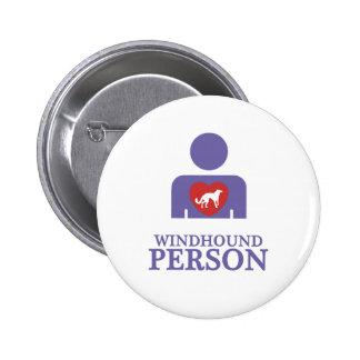 Windhound de seda pin redondo de 2 pulgadas