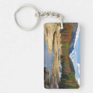 Winding Colorado River With Mountains and Pines Keychain