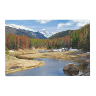 Winding Colorado River With Mountains and Pines Placemat