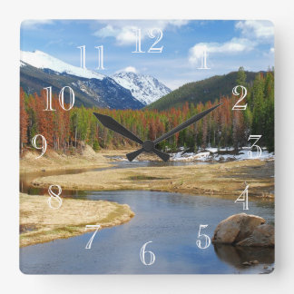 Winding Colorado River With Mountains and Pines Square Wall Clock